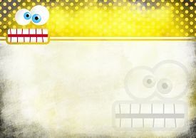 image of scrappy  - A digitally painted scrappy note paper background design with a crazy cartoon toothy face and yellow polka dots - JPG