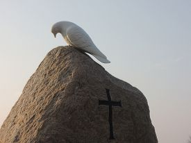 stock photo of tombstone  - Holy ghost sheparding a soul to Heaven - JPG