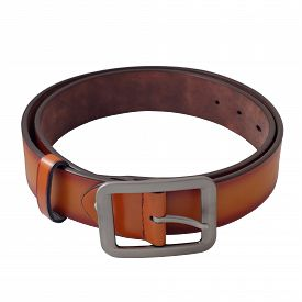 stock photo of sling bag  - Isolated Brown Leather Men Belt on White Background - JPG