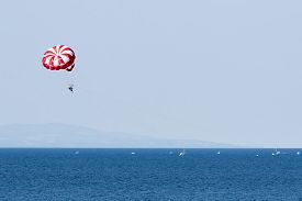 pic of parasailing  - Tourists in Bulgaria are parasailing above blue water on the Black sea - JPG