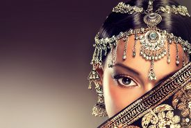 stock photo of indian  - Beautiful Indian woman portrait with jewelry  - JPG