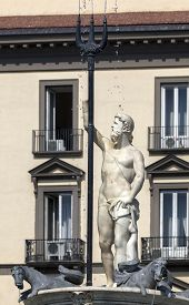 image of trident  - The Fountain of Neptune in Naples Italy was built by Giovanni Domenico D - JPG
