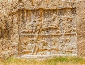 image of zoroastrianism  - Ancient relief of the necropolis Naqsh - JPG