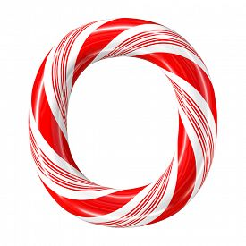 image of desert christmas  - Mint hard candy cane 3d alphabet collection striped in Christmas colours - JPG