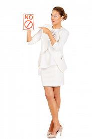 pic of bans  - Young businesswoman holding a board with ban - JPG