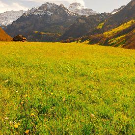 stock photo of farmhouse  - Farmhouse on the Alpine Pasture Framed by Snow - JPG