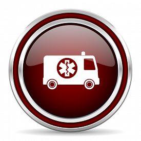 stock photo of ambulance  - ambulance red glossy web icon - JPG