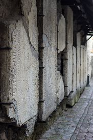 foto of tombstone  - Medieval tombstones on the wall of Catherine - JPG