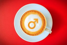 stock photo of stimulating  - Coffee for men Men Gender Sign drawing on coffee  - JPG