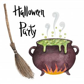 stock photo of cauldron  - Watercolor cauldron with potion and broom poster for a happy Halloween party - JPG