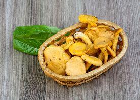 stock photo of chanterelle mushroom  - Chanterelle mushroom in the basket on wood background - JPG