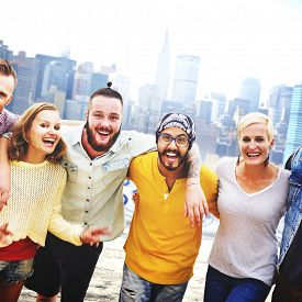image of huddle  - Friends Friendship Huddle Vacations Happiness COncept - JPG