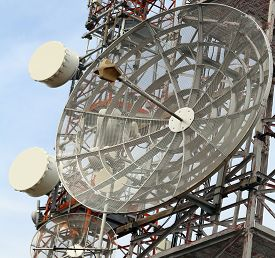 stock photo of wiretap  - telecommunications antennas and repeaters of television and telephone signals - JPG