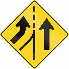 picture of merge  - Canadian road warning sign  - JPG