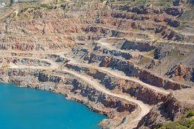 stock photo of open-pit mine  - Open pit mine in Balaklava near Sevastopol city - JPG
