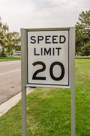 pic of mph  - Black and white sign for 20 mph speed limiit - JPG