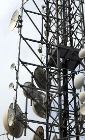 picture of wiretap  - large telecommunications antennas and repeaters of telephone signals - JPG