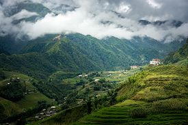 image of rainy season  - Beautiful Fansipan mountain landscape and the mist in rainy season of Sapa Lao Cai Vietnam - JPG