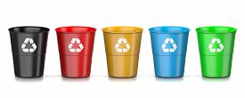 stock photo of recycle bin  - Set of Plastic Colorful Recycle Bin with Recycle Sign Isolated on White Background 3D Illustration - JPG