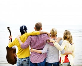 stock photo of huddle  - Friends Friendship Huddle Vacations Happiness COncept - JPG