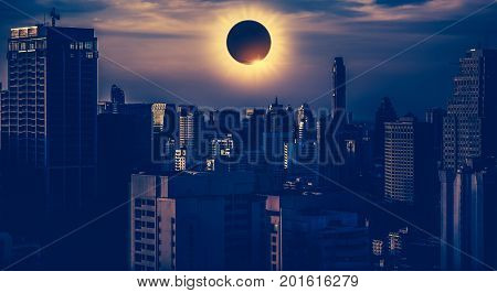 poster of Amazing Scientific Natural Phenomenon. Total Solar Eclipse Glowing On Sky.