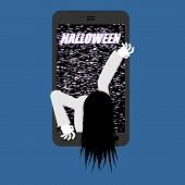 Halloween Witch Zombie From Smartphone. Zombie Girl Comes Out Of Phone Gadget. Interference Glitch P poster