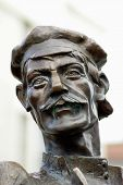 picture of ekaterinburg  - Head of bronze cyclist statue installed at a one of the Ekaterinburg city street - JPG