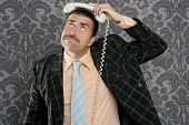 Nerd scared expression businessman telephone call mustache retro poster