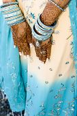 stock photo of rajasthani  - henna hands at indian wedding - JPG