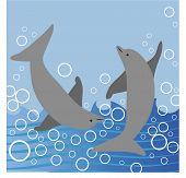 dolphins playing in the ocean illustration