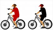 Постер, плакат: велосипед всадников Иллюстрация