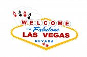 image of las vegas casino  - welcome to las vegas sign with cards and dice vector - JPG