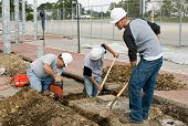 stock photo of chain link fence  - Construction Crew - JPG