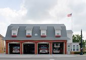 foto of firehouse  - Retro fire house in small town America - JPG