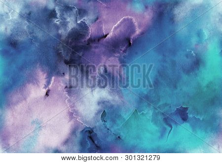 poster of Hand Painted Watercolor Bright Seamless Pattern With Abstract Sky, Galaxy, Cosmos And Luminescence.