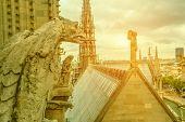 Mythological Gargoyle Statue Of Notre Dame Cathedral On Paris Skyline At Sunset. Paris City Capital  poster