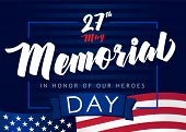 Memorial Day Background With Usa Flag And Lettering In Honor Of Our Heroes. Happy Memorial Day Vecto poster