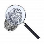 Realistic Magnifying Glass And Fingerprint. Fingerprint Under A Magnifier. Template Design Of Explor poster