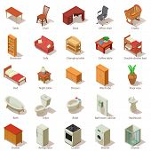 Domestic Furniture Icons Set. Isometric Illustration Of 25 Domestic Furniture Icons For Web poster
