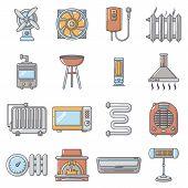 Heat Cool Air Flow Tools Icons Set. Cartoon Illustration Of 16 Heat Cool Air Flow Tools Icons For We poster