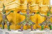 Caryatids Of The Golden Chedi Of Wat Phra Kaew In The Grand Palace In Bangkok poster