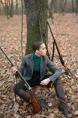 Successful Hunt. Hunting Sport. Woman With Weapon. Target Shot. Girl With Rifle. Chase Hunting. Gun  poster