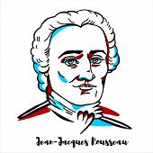 Jean-jacques Rousseau Engraved Vector Portrait With Ink Contours. Genevan Philosopher, Writer And Co poster