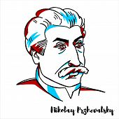 Nikolay Przhevalsky Engraved Vector Portrait With Ink Contours. Russian Geographer Of Polish-russian poster