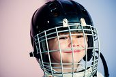 Safety And Protection. Protective Grid On Face. Sport Equipment. Hockey Or Rugby Helmet. Sport Child poster