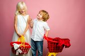 Cute Buyer Customer Client Hold Shopping Cart. Buy With Discount. Girl And Boy Children Shopping. Co poster