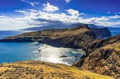 Panoramic Landscape View Of Atlantic Ocean Coastline At Portugal Island Madeira. poster