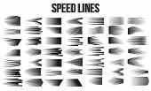Big Set Of Different Simple Black Speed Line. Comic Book Design Element Speed Lines Explosion Manga  poster