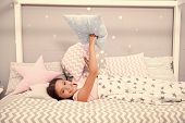 Comfortable Pillow. Girl Smiling Child Lay Bed Star Pattern Pillows And Plaid Bedroom. Bedclothes Fo poster