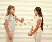 Kids Schoolgirls Preteens Happy Play Together. Girls Smiling Happy Faces Play Game Communicating Sta poster